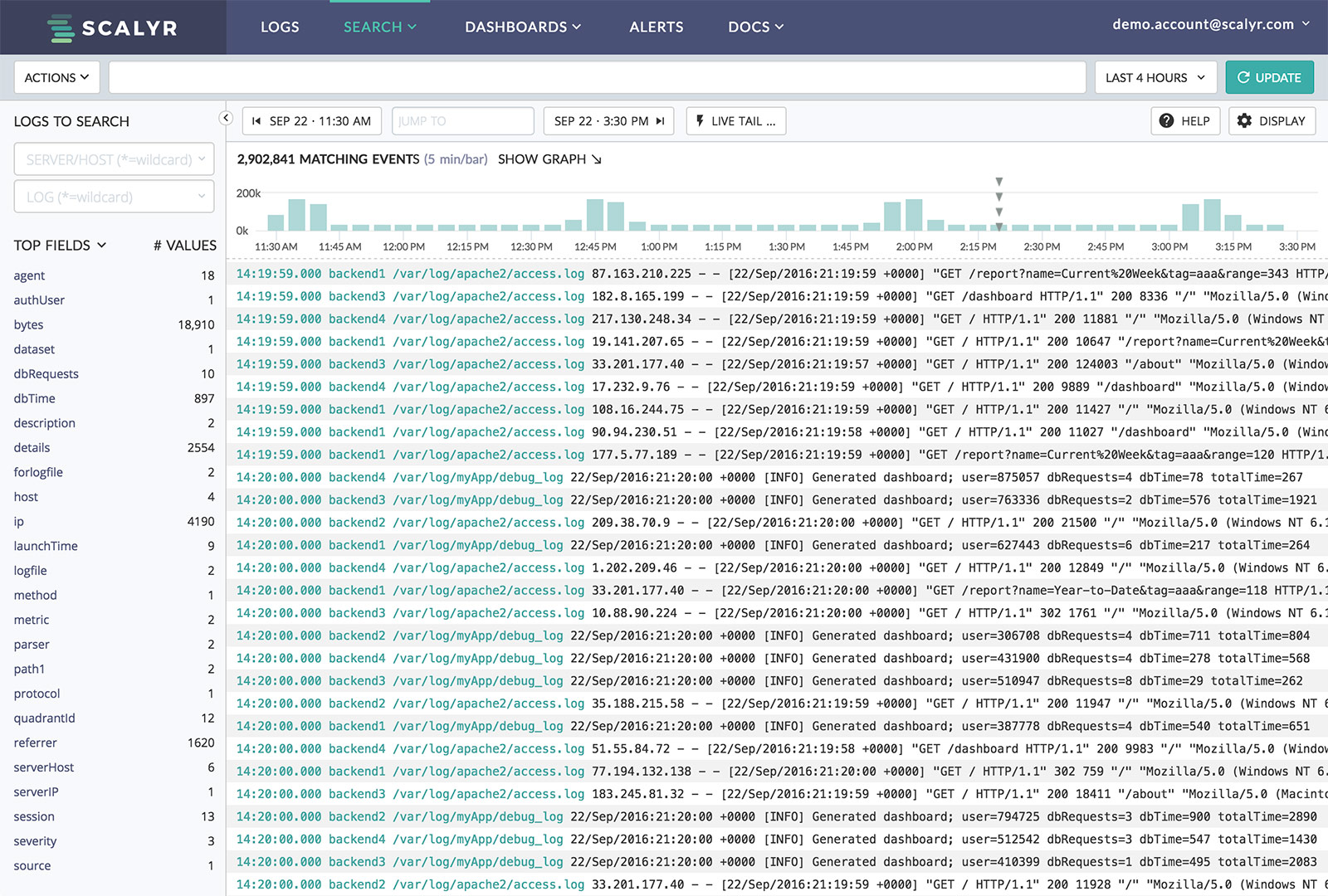 Screenshot of Scalyr Log Monitoring and Aggregation